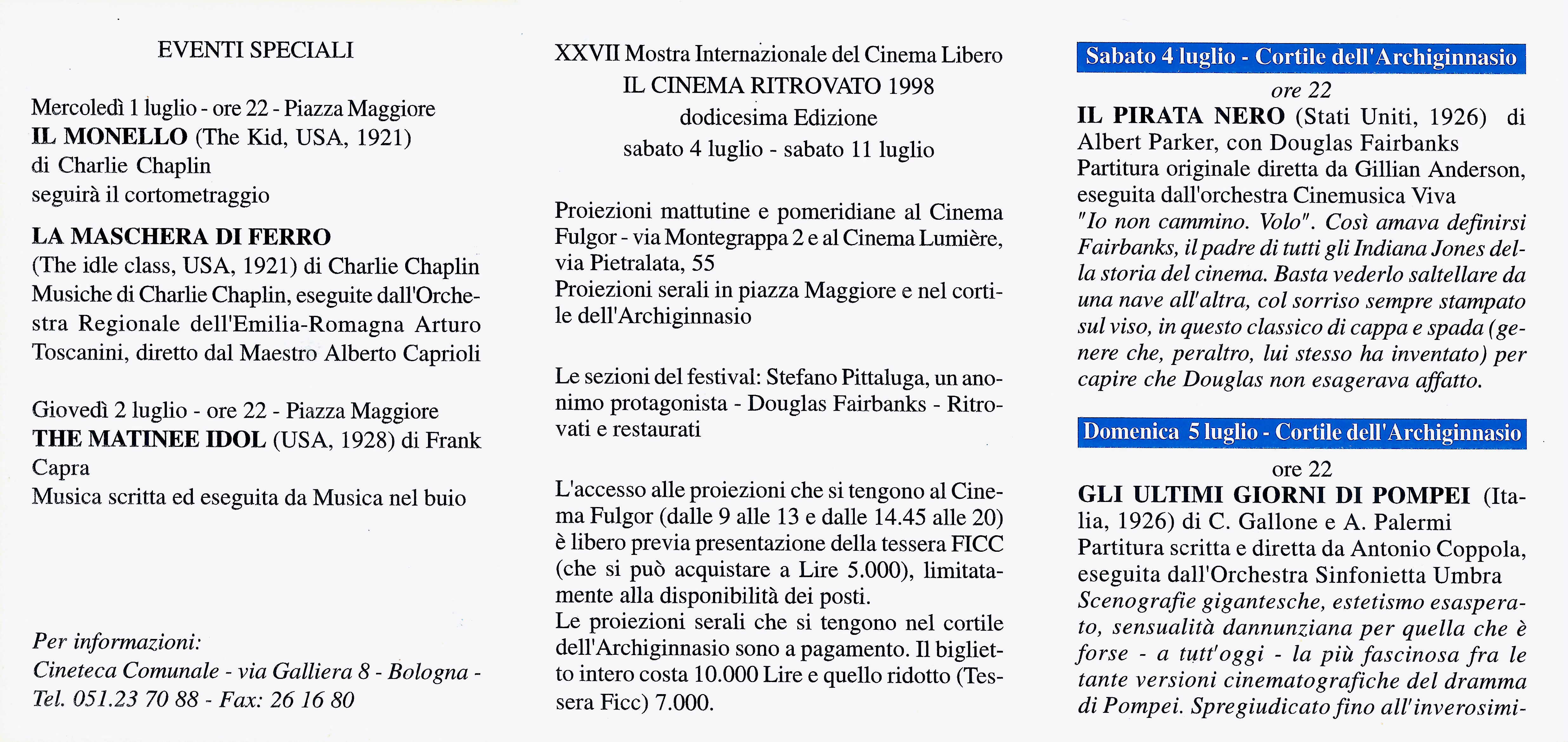 BOLOGNA, FESTIVAL IL CINEMA RITROVATO 1998, EVENTI SPECIALI, ORCHESTRA SINFONICA ARTURO TOSCANINI, ALBERTO CAPRIOLI, DIR.